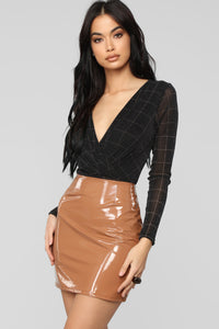 Windowpane Lurex Bodysuit - Black/Combo