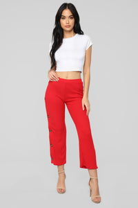 Snap Out Of It Ribbed Pants - Red