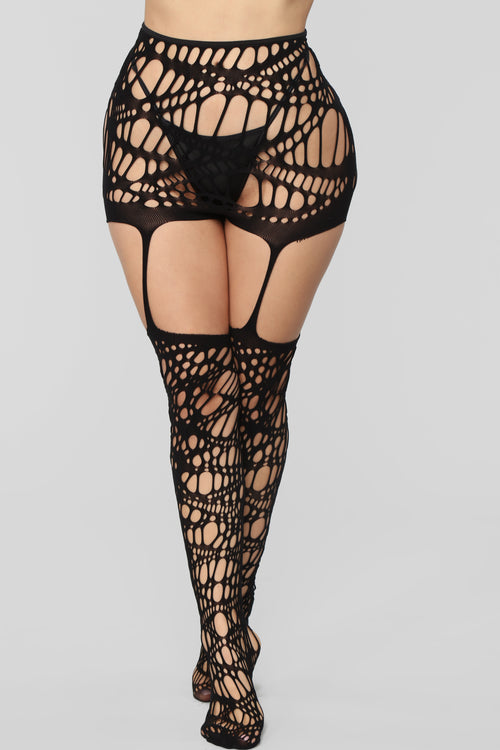 Slay With Me Stockings - Black