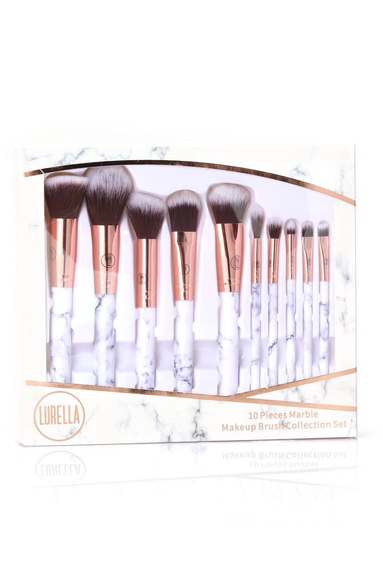 Lurella Marble 10 Piece Make Up Brush Set - White