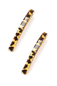 Tame The Mane Hair Clips - Leopard Angle 2