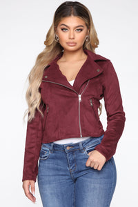 Take Me On A Ride PU Leather Jacket - Burgundy Angle 1