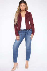 Take Me On A Ride PU Leather Jacket - Burgundy Angle 2