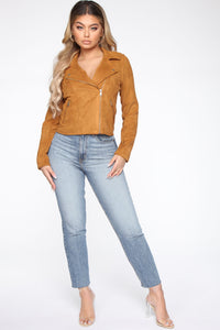 Take Me On A Ride PU Leather Jacket - Cognac Angle 2