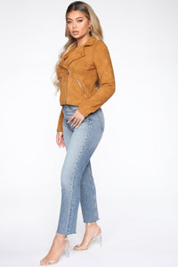 Take Me On A Ride PU Leather Jacket - Cognac Angle 4