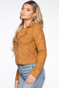Take Me On A Ride PU Leather Jacket - Cognac Angle 3