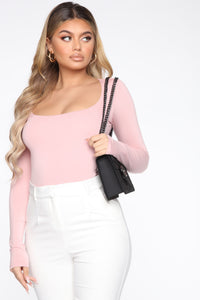 Anything But Square Long Sleeve Bodysuit - Blush Angle 4