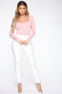 Anything But Square Long Sleeve Bodysuit - Blush Angle 3