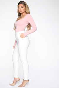 Anything But Square Long Sleeve Bodysuit - Blush Angle 5