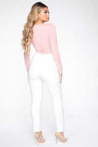 Anything But Square Long Sleeve Bodysuit - Blush Angle 6