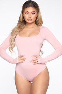 Anything But Square Long Sleeve Bodysuit - Blush Angle 2