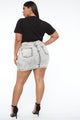Laney Distressed Denim Skirt - Acid Wash Grey