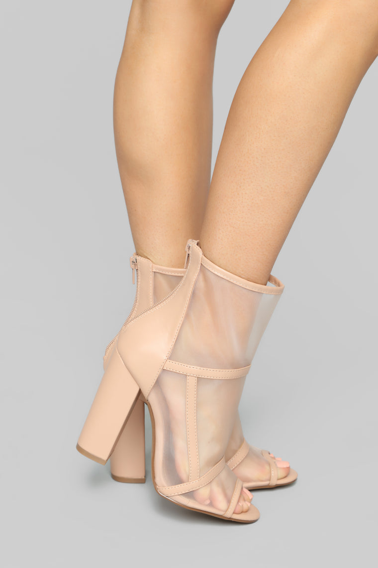 Transparent By Choice Bootie   Nude by Fashion Nova