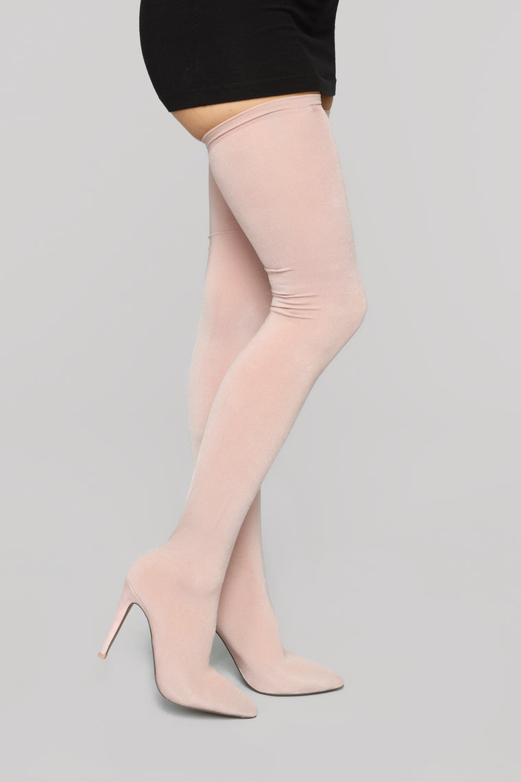 Outrageous Heeled Boots - Nude