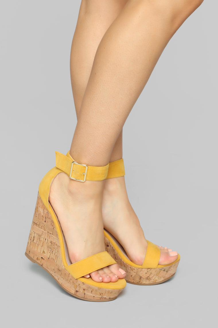 Just A Distraction Wedges   Yellow by Fashion Nova