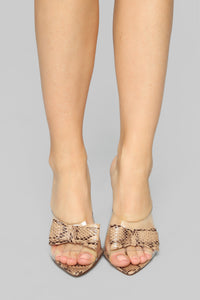 Bow Perfect Heeled Sandal - Snake Angle 2