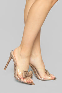 Bow Perfect Heeled Sandal - Snake Angle 1
