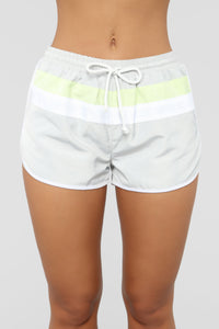 Retro Vibe Windbreaker Shorts - Grey/Lime
