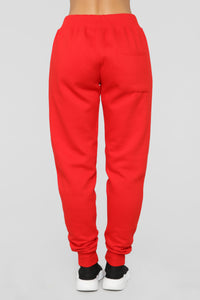 Stole Your Boyfriend's Oversized Jogger - Red