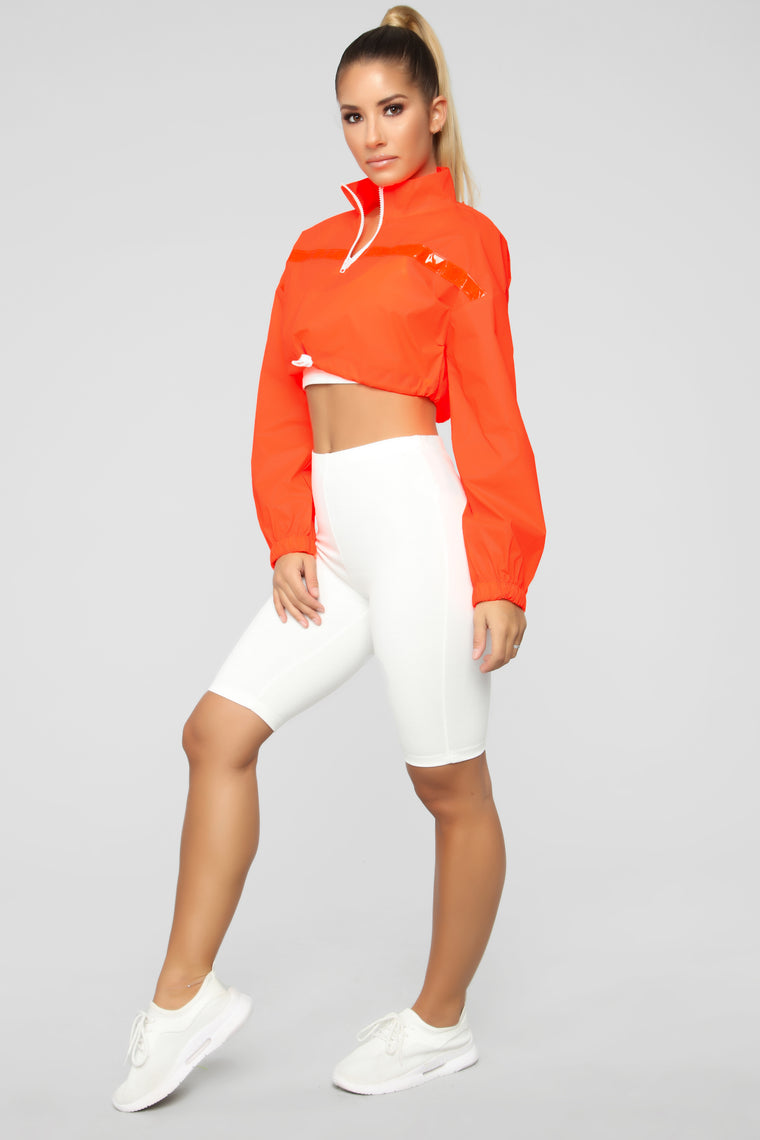 Reflective Cropped Jacket - Orange