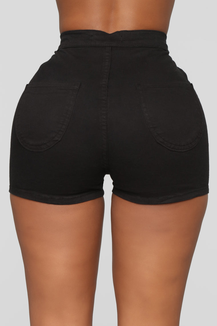 Basic Beach Denim Shorts - Black
