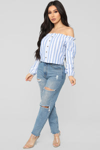 Stripe Oasis Button Top - Blue/Combo Angle 4
