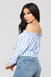 Stripe Oasis Button Top - Blue/Combo Angle 5