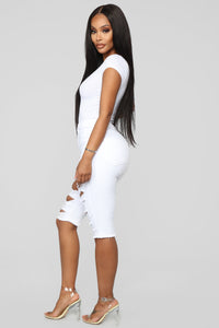 Taking The High Road Bermuda Shorts - White