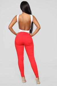 Red Kiss Ankle Jeans - Red