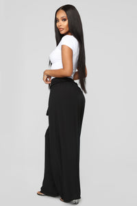 Go With The Flow Crinkled Palazzo Pants - Black