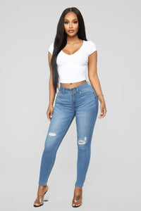 Can't Stop Me Distressed Jeans - Light Blue Wash