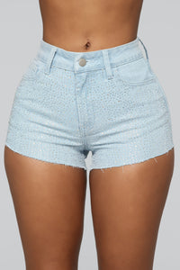 All The Stars High Rise Rhinestone Shorts - Light Blue Wash
