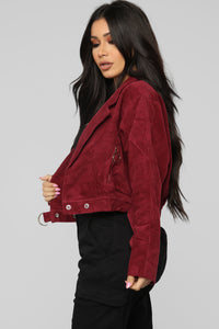 Take A Chance Moto Jacket - Burgundy