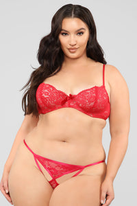 Key To My Heart Lace Bikini Panty - Red Angle 4