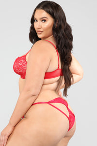 Key To My Heart Lace Bikini Panty - Red Angle 6