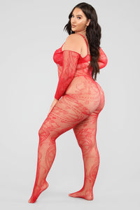 Answer My Call Lace Body Stocking - Red