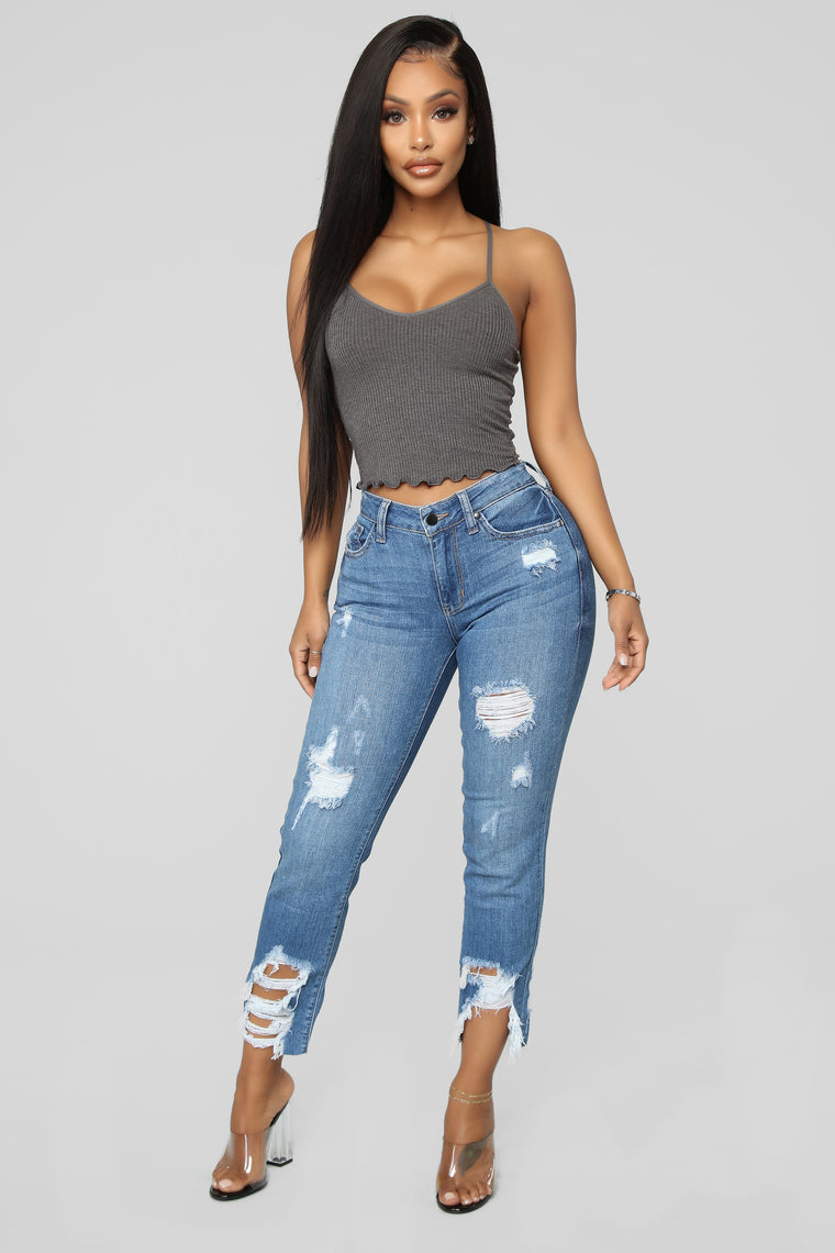 Never Miss You Crop Distressed Jeans - Medium Blue Wash