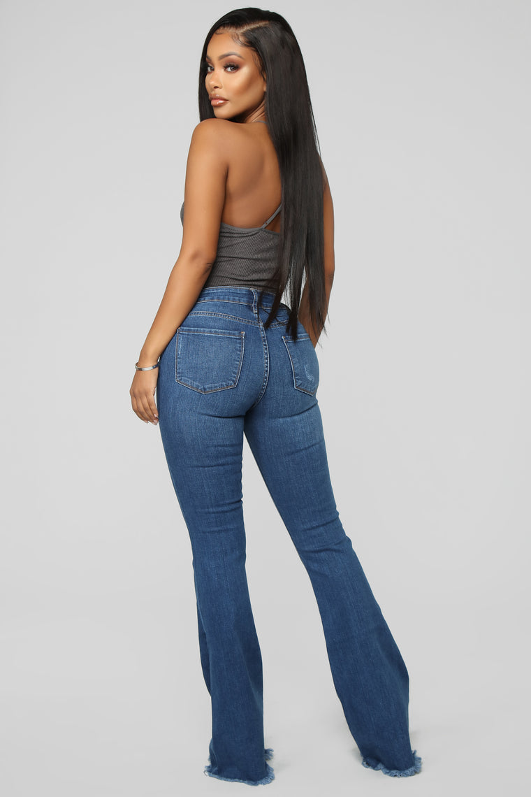 Want To Be Yours High Rise Flare Jeans - Medium Blue Wash