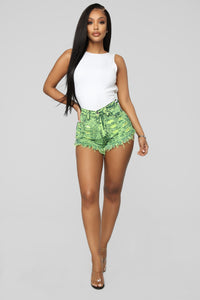 High Rise Shorts - Green