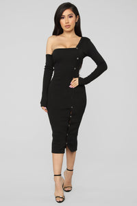 Keep Loving You Ribbed Mini Dress - Black Angle 1
