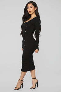 Keep Loving You Ribbed Mini Dress - Black Angle 3