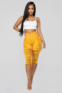 Short And Sweet Denim Shorts - Mustard