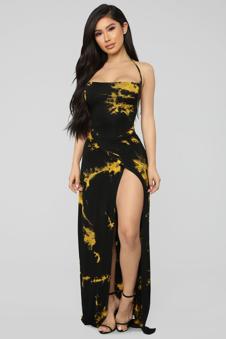 Stained With Envy Halter Dress - Black/Mustard