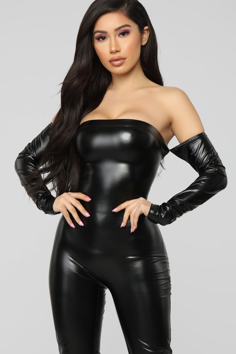 Soothe Faux Leather Jumpsuit - Black