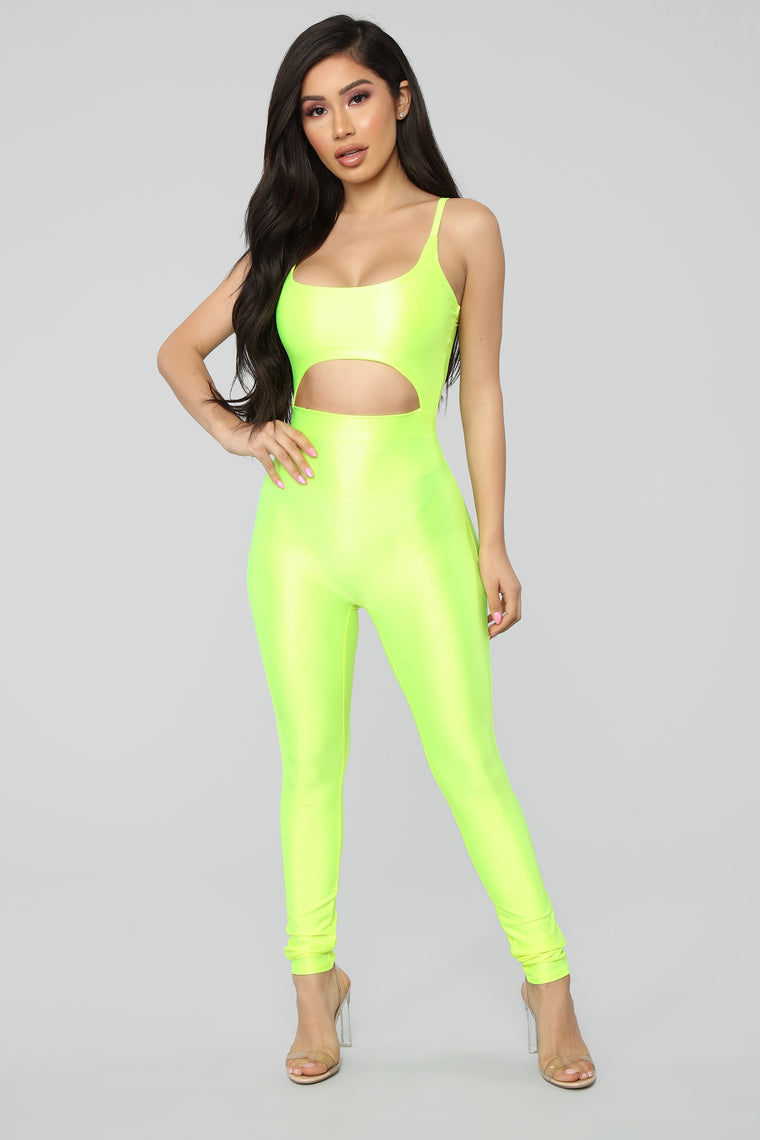 6cadf3eb2d07 A Cut Above The Rest Jumpsuit Neon Yellow by Fashion Nova