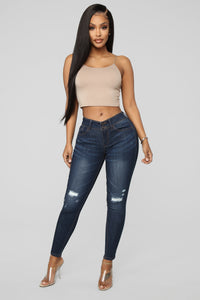 Can't Stop Me Distressed Jeans - Dark Denim