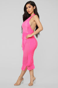 Soaking Up The Sun Dress - Neon Pink