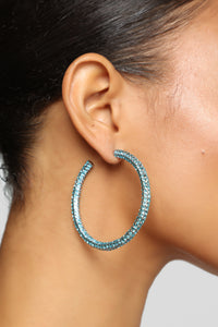Ocean Eyes Hoop Earrings - Blue