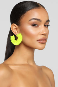 Fan Out Earrings - Neon Yellow Angle 1