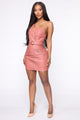 Biker Babe PU Mini Dress - Mauve